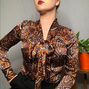 Pussy bow abstract print button up blouse